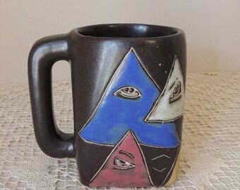 Unusual Ceramic Hand Crafted Eye Mug. All Seeing Eye Large Iron Stone Cup. I Have My Eyes on You Office or School Desk Decor Mug