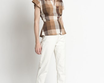 Vintage Brown Grid Plaid Short Sleeve Cotton Top with Peplum | S