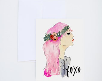 XOXO - Friendship - Illustrated Watercolor Greeting Card - A-2