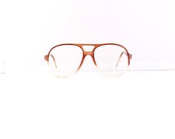 quantum aviator eyeglasses frames unisex vintage 70s translucent brown clear frames m154