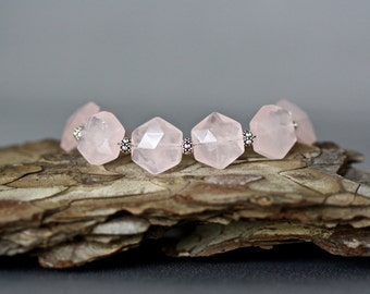 Rose Quartz Bracelet - Pink Gemstone - Rose Quartz Jewelry - Hexagon Bracelet - Bali Silver Bracelet - Statement Jewelry - Gift for Her