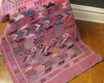 Camels and Other Animals - Wall Hanging or Rug - Large Vintage Woven Tapestry - Pink Handwoven Textile Art