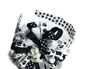 Puppy Hair Bow, Paw Print Headband, Dog Hair Bow, Handmade Hair Bow, 3.5 Inch Hair Bow, 1 Inch Headband, Paws Hair Bow, Made To Order