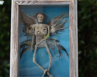 Mummified Fairy Shadowbox- Sideshow Gaff Art Piece- Pixie Creepy Halloween