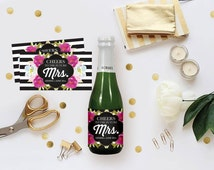 DIY Champagne Label - Editable MS Word Template, Floral Black White Stripes, Bridal Shower Decor, Brunch and Bubbly Bachelorette Party Favor