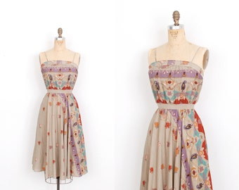 Vintage 1970s Dress / 70s Printed Bohemian Floral Sundress / Taupe (XS extra small)