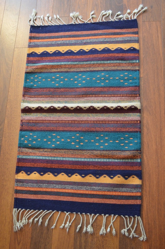 Vintage Mexican Hand Woven Rug Vintage Oaxaca Mexican Wool