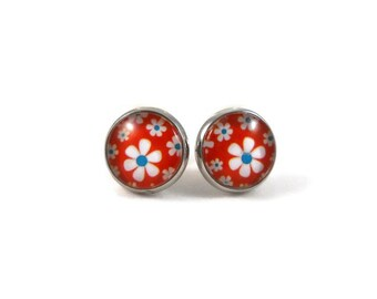 Daisy Earrings Red White and Blue Jewelry Stocking Stuffers for Teenage Girls Gifts Under 20 Cute Earrings for Teens Big Post Earrings