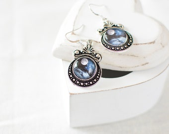 Ocean Moon Earrings. Silver Moon Earrings. Moon Jewelry. Blue Moon Earrings. Glass Dome Earrings. Ocean Waves, Sea, Moonlight.