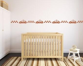 Taxi Cab, Wall Decal Border, Nursery Wall Decal, Decor for Kids, Nursery Decor, Nursery Wall Art, Apartment Wall Art, Car Wall Decal