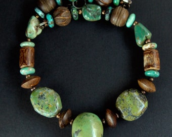 Green Turquoise Necklace Large Earthy Green Ovals w Southwest Turquoise Nuggets, Rustic Wood, and Chrysocolla Rustic Boho Gemstone Jewelry