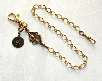 Pocket Watch Chain Handmade Gold Satin Brass with Victorian Filigree Fob and option Personalized Initial Monogram Coin