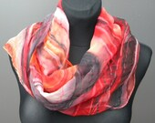 Red black orange white hand painted silk scarf, red and black lines. Passionate wrap in shades of flames one-of-the-kind gift for her