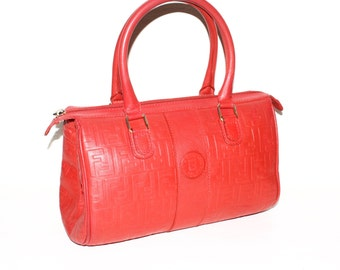 FENDI Vintage Leather Speedy Handbag Red Embossed Logo Tote - AUTHENTIC -
