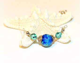 Sky Blue Necklace. Blue Glass Bead Necklace. Pendant Necklace. SS Bali Beads.