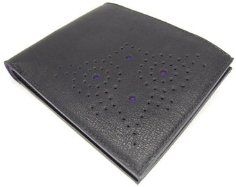 Black leather wallet, six card slots and notes pocket - hand punched brogue pattern