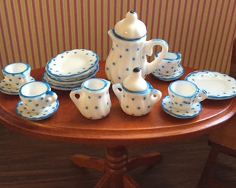 Miniature Polka Dot Tea Set, Dollhouse Miniatures, 1:12 Scale, 17 Piece Set, Home Decor, Dining, Miniature Garden Accessory