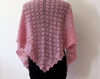 Hand knit pink cashmere lace triangle shawl