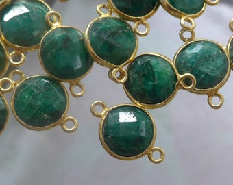 18x12mm, Dyed Faceted Round Emerald Gold Vermeil Sterling Silver Connector, 12mm Round Faceted Emerald Connector
