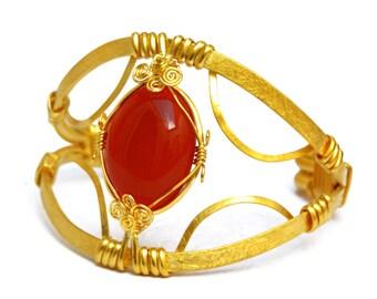 Gold Cuff Bracelet, Statement Bracelet, Gemstone Bracelet, Red Carnelian, Wire Wrapped, Wide Bracelet, Statement Bracelet, Vintage Style