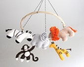 Safari baby mobile, jungle animals, zoo, elephant, giraffe, monkey, zebra, lion, nursery decor, baby gift, shower gift, African