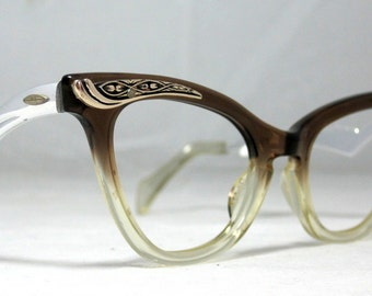 Vintage 60s Cat Eye Eyeglasses. Brown Fade Color with Silver Designs
