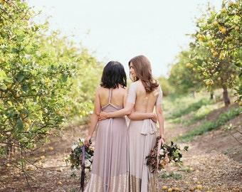 Bella Luna~ Matte Blush/ Champagne Sequin Octopus Infinity Wrap Dress No Train ~Vintage, 1920s Gatsby Wedding, Bridesmaids Dress