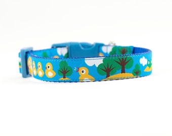 "Ducky Dog Collar, Duck Dog Collar,  Frog and Ducky Collar, Duck and Frog Collar, Frog Dog Collar, Boy Dog Collar, 3/4"" Small Collar, Sale"