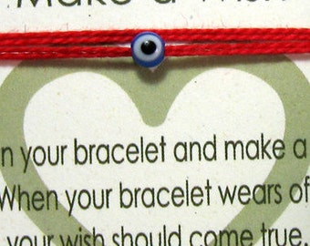 Blue Evil Eye Charm Protection Bracelet Red Bracelet Good Luck Bracelet Make A Wish Bracelet TINY Blue Evil Eye on red Thread blue evil eye