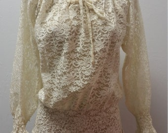Weekend Sale 34% off 1970s Long Sleeve Lace Peasant Blouse, Tunic, Boho Blouse, Hippie Top, Cream, Size S/M/L,  #59705