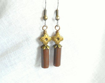 Brown Earrings Bronzed Earrings Beaded Earrings Wand Earrings Flower Petal Earrings Unique Earrings Simple Earrings Surgical Steel Hooks