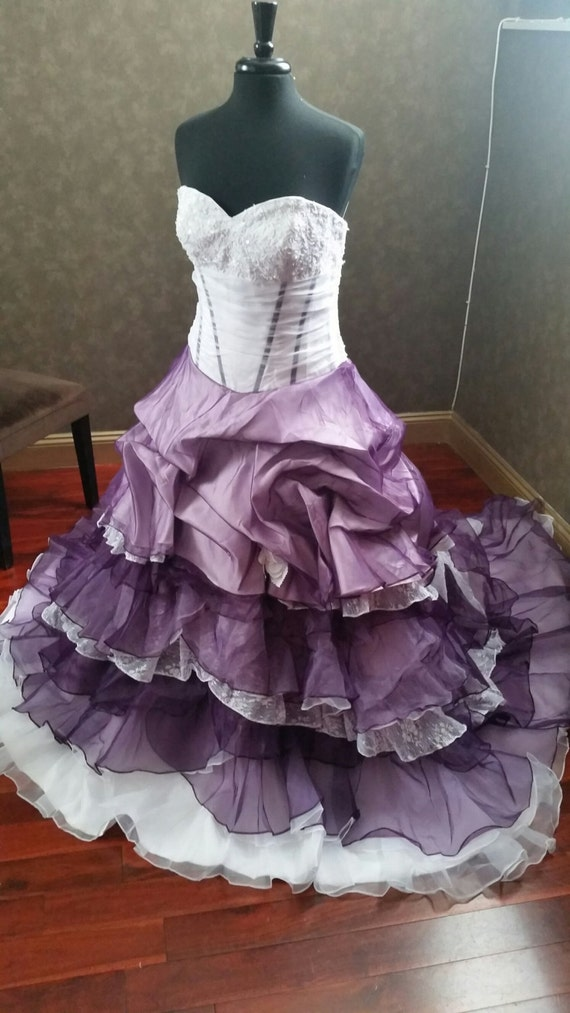 Dip dye purple and ivory wedding dress sweetheart neckline for Purple and ivory wedding dress