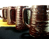 Marcrest 4 Beer Steins USA Stoneware Daisy and Dot Brown Ware Mug Set Collectible Pottery Vintage Mugs