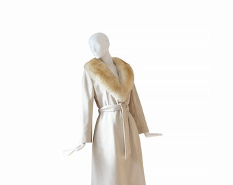 1970s Princess Coat • 70s Boho Coat • Fur Collar • Wool Cream Camel Coat • Large L