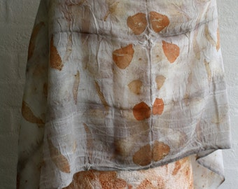 Eco dyed woven wool shawl, pale grey and burnt orange