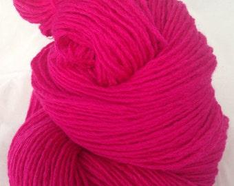 fuchsia, Magenta Bright Pink reclaimed yarn, pure merino Wool, 100 yards saori weaving yarn