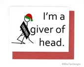Naughty Christmas Card, Giver of Head Santa Baby, Funny Card, Boyfriend Card, Love Gift, XMAS Gift, Blowjob, Man, Blank