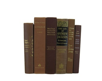 Old Decorative  Brown Books for Home Decor ,  Old Book Collection, Wedding Decor , Brown Old Books for Decorating, Old Books for Cheap