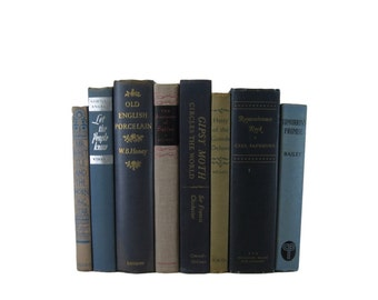 Blue Tan  Books Home Decor,  Vintage Books, Old Books,  Book Sets, Vintage Wedding Decor,  Book Lover Gift,  Book Stack, Book Collection