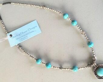 SALE! 20% OFF -Faux Turquoise pendant necklace - was 30.00