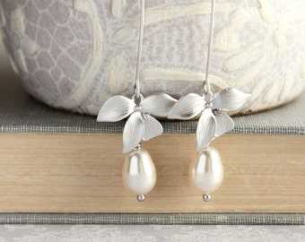 Orchid Flower Earrings Long Silver Dangle Cream Pearl Earrings Bridal Jewelry Bridemaids Gift Summer Fashion Nickel Free Romantic Wedding