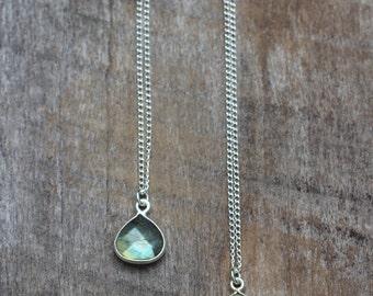 Labradorite teardrop necklace - Sterling silver teardrop necklace, gemstone necklace, labradorite necklace, simple gemstone jewelry, boho