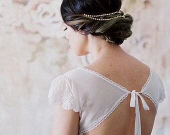 Unique Simple Bridal Headpiece Draped V Wedding Headband unusual head chain hair jewelry pins rose gold silver modern forehead circlet 225 3