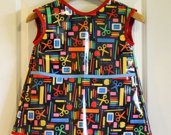 Extra Long Kids Art Smock Waterproof Apron in School Supplies Print