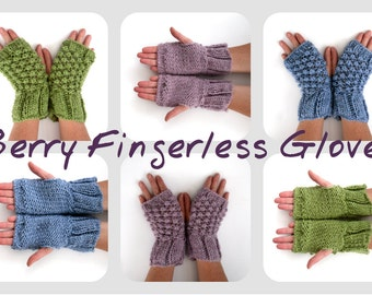 Alpaca fingerless gloves , hand knitted textual mitts in alpaca / acrylic yarn , christmas gift for her, choice of colours,