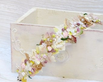 Bridal flower crown flower wedding Hair wreath Slik flower headband rustic wedding Hair flower wreath headband boho floral headband wedding