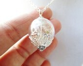 Dandelion Seed Wishing Orb Terrarium Necklace, Small Orb in Bronze or Silver, Bridesmaid Jewelry