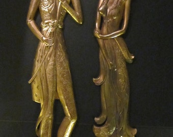 Tall Dramatic Chinoiserie Wall Hangings - Stunning Golden Asian Couple - Hollywood Regency - Art Deco Era 1930s 1940s Syroco Wood Set