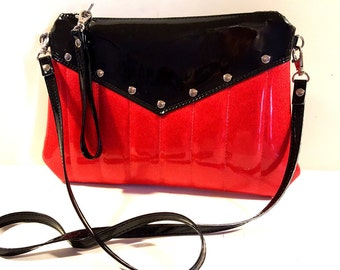 Glitter Vinyl Purse, Crossbody Bag, Red Sparkle Purse, Rockabilly, Goth Bag, Black and Red - MADE TO ORDER