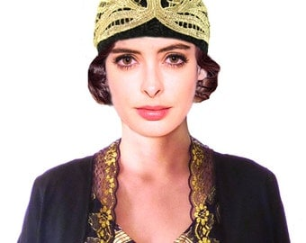 Art Deco Hat, Crochet Hat, Black Knit Hat, Gold Flapper Hat, 1920s ,Turban Great Gatsby, Black Cloche Hat, Beanie, Retro Hat, Gift For Her